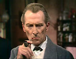 "Peter Cushing as Holmes in the BBC adaptation of ""A Study in Scarlet""."