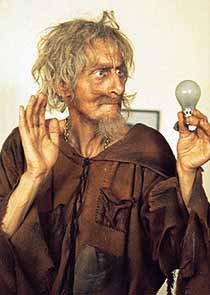 "Catweazle practices elec-trickery in ""The Sun In A Bottle""."