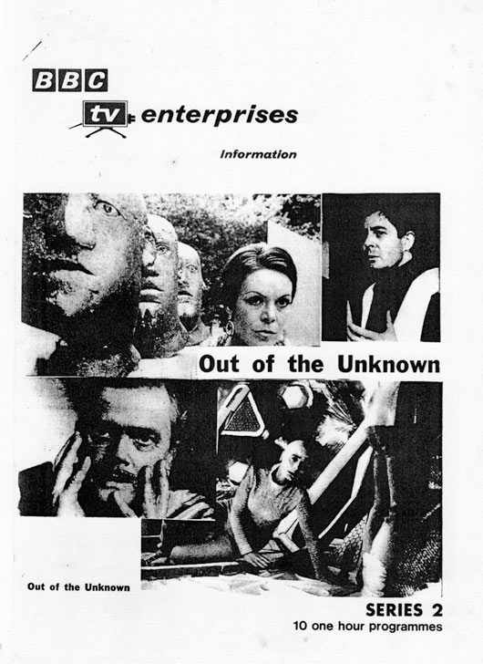 BBC Enterprises sales brochure for series two, featuring images from (clockwise) Frankenstein Mk II, Too Many Cooks, The Machine Stops and Second Childhood.