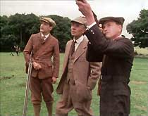 Shooting party: Freddy Calderbeck (John D. Collins), Sir Horatio Manners (Basil Henson) and Jack Ford (James Bolam).