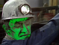 The first victim of the Green Death - Highes, the miner (118-118 advert star John Scott Martin)