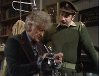 The Doctor (Jon Pertwee) and the Brigadier (Nicholas Courtney)