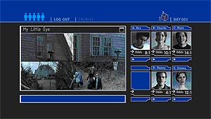Typical Interactive Mode menu screen (although the split-screen effect in the main screen is one of the few shots in the film to use the technique). To access the interactive mode you'll need a code printed on the packaging: 0405.