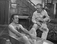 "Vic Evans (Victor Spinetti) steals Sid Turner's bath, in an early episode of ""Two in Clover"""