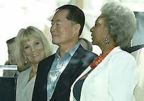Grace Lee Whitney, George Takei and Nichelle Nichols