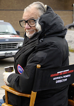 George Romero, on the set of Diary of the Dead